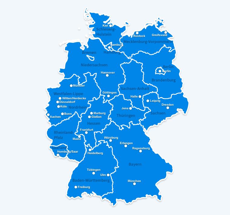 unikliniken deutschland karte Universitätskliniken   Deutsche Gesellschaft für Kieferorthopädie e.V.